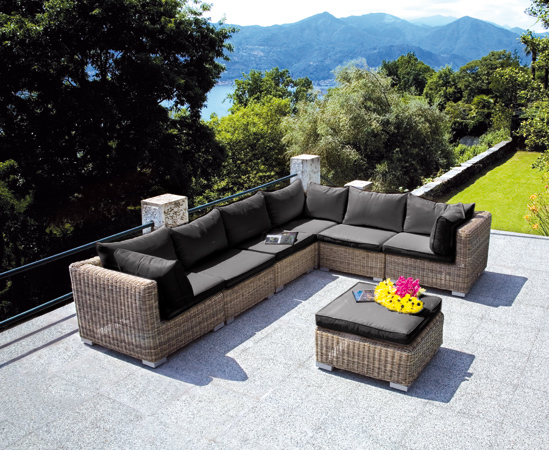 Set Antigua in Rattan Sintetico Grey Kubu Set 3 Pezzi Greenwood Alta Qualità